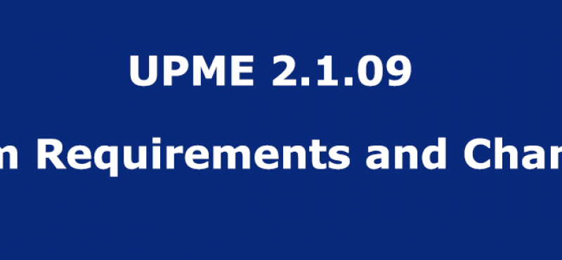 UPME 2.1.09 – System Requirements and Changelog